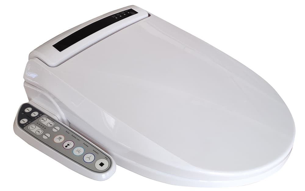 A bidet toilet seat with electronic controls.