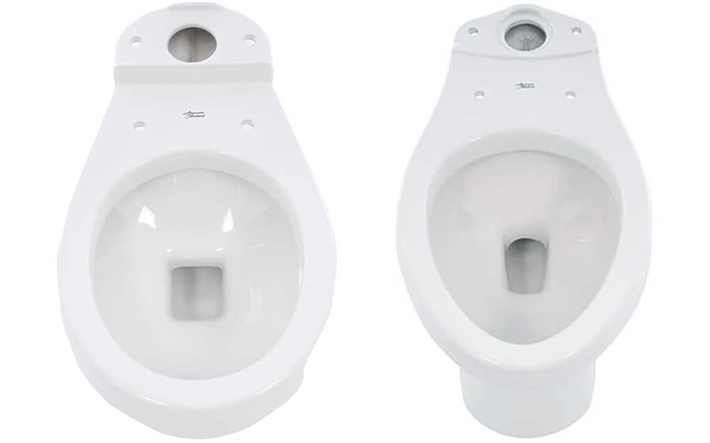 A standard round toilet bowl next to an elongated toilet bowl.