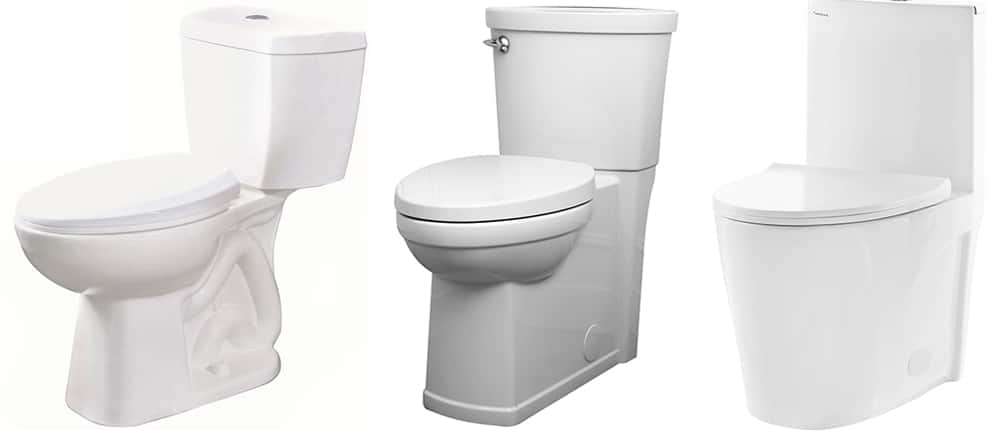 Profiles of toilet bases show a visible trap, a concealed trap and a skirted toilet.