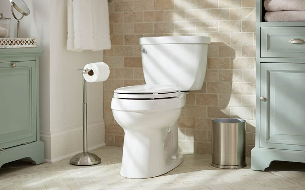 A two-piece toilet.