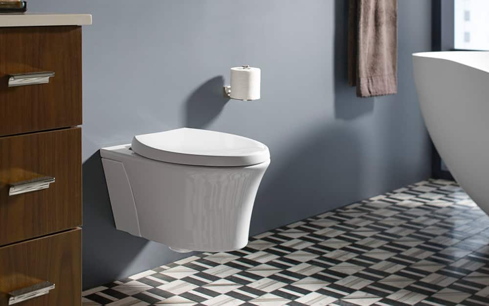 A wall-mounted toilet.