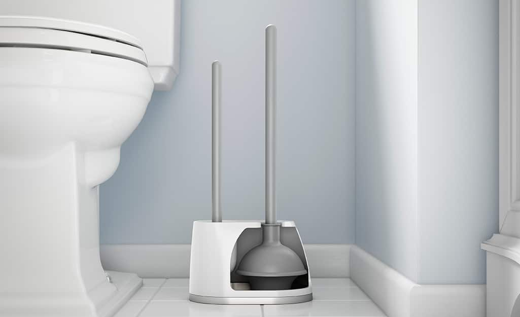 A plunger sits next to a toilet in a bathroom.
