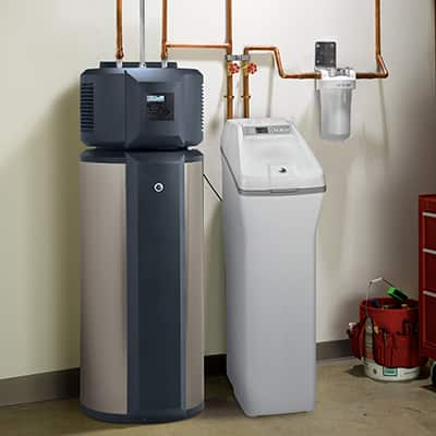 A water softener operates in a home.