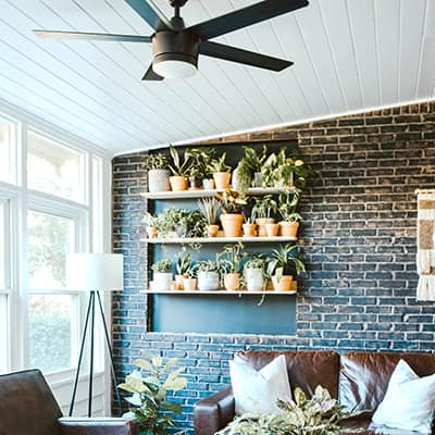 A room with a brick wall and three shelves of plants.