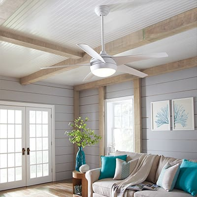 a ceiling fan in a living space