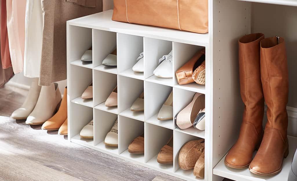 A neatly organized shoe storage system.