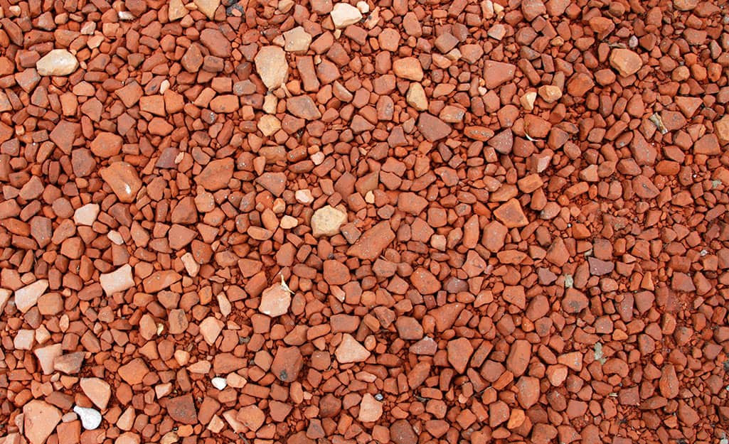 Brick chips spread on the ground.