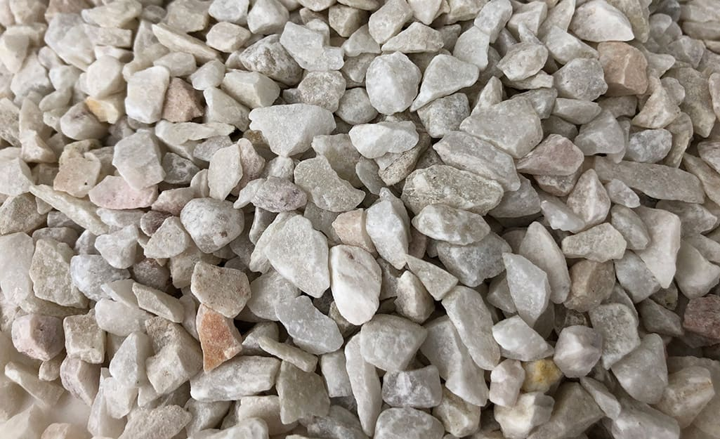 Crushed gravel spread on the ground.