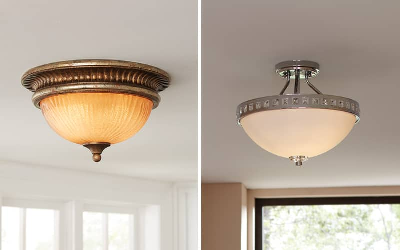 side by side comparison photo of flush and semi-flush mount lighting fixtures