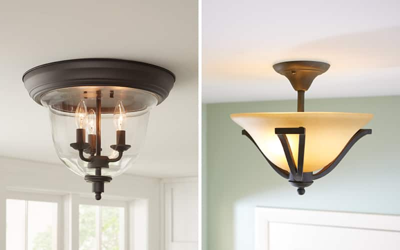 a side by side of flush and semi-flush mount lighting featuring different finishes