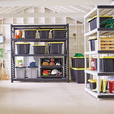 a clean and organized garage