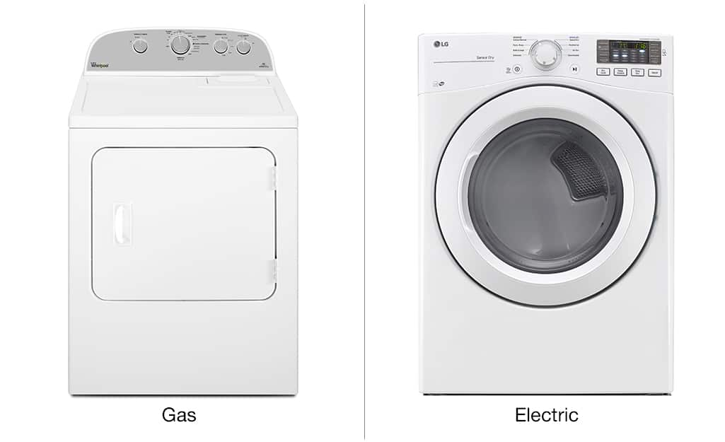 A front-load gas dryer and a front-load electric dryer sit side by side against a white background.