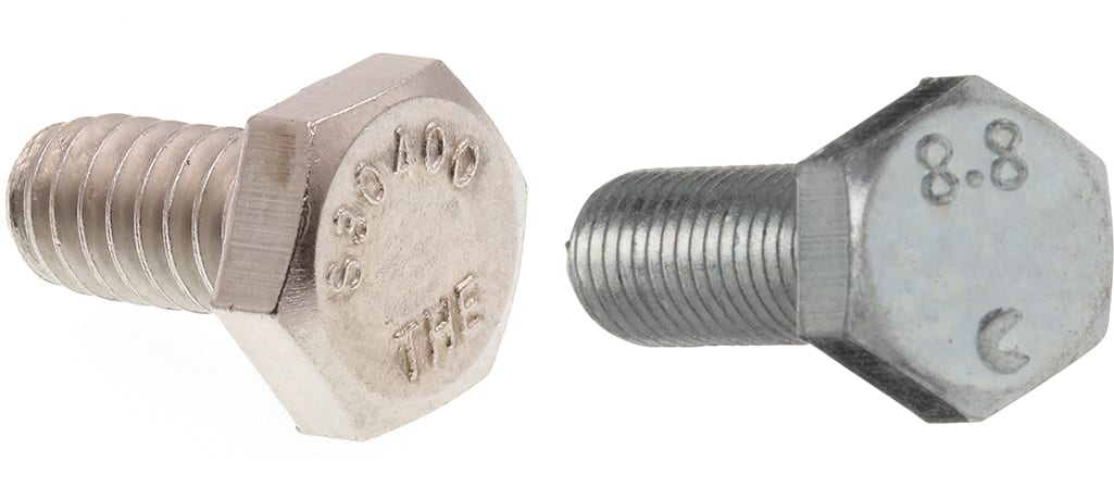 A SAE and metric bolt side by side on a white background.