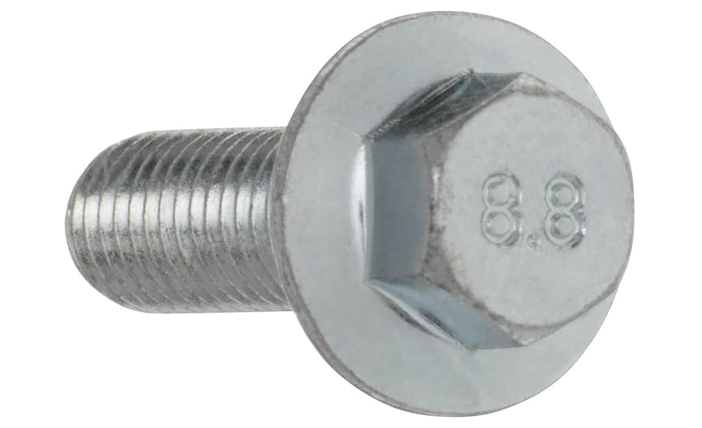 A metric class 8.8 bolt on a white background.