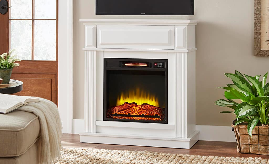 A Hampton Bay fireplace in a living room.
