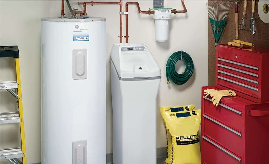 A water softener installed in a family utility room.