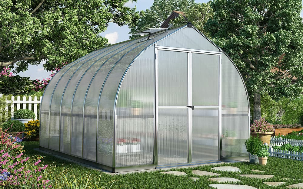 Greenhouse covered with polycarbonate panels.