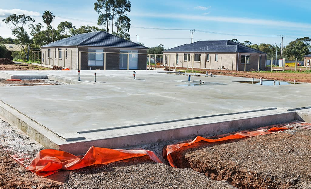 A concrete slab foundation.
