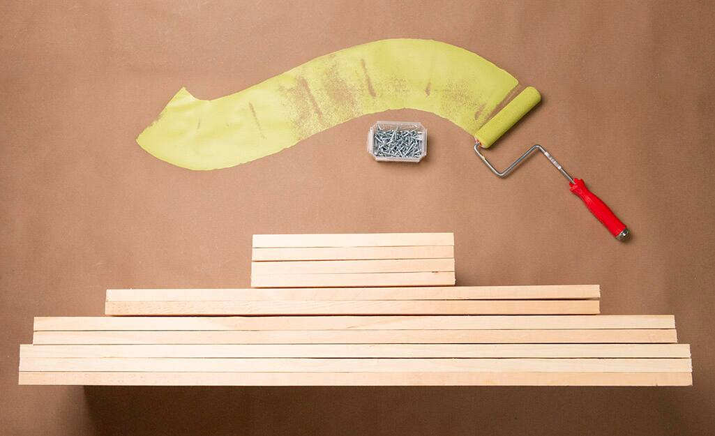 A collection of materials for building a kids cubby.