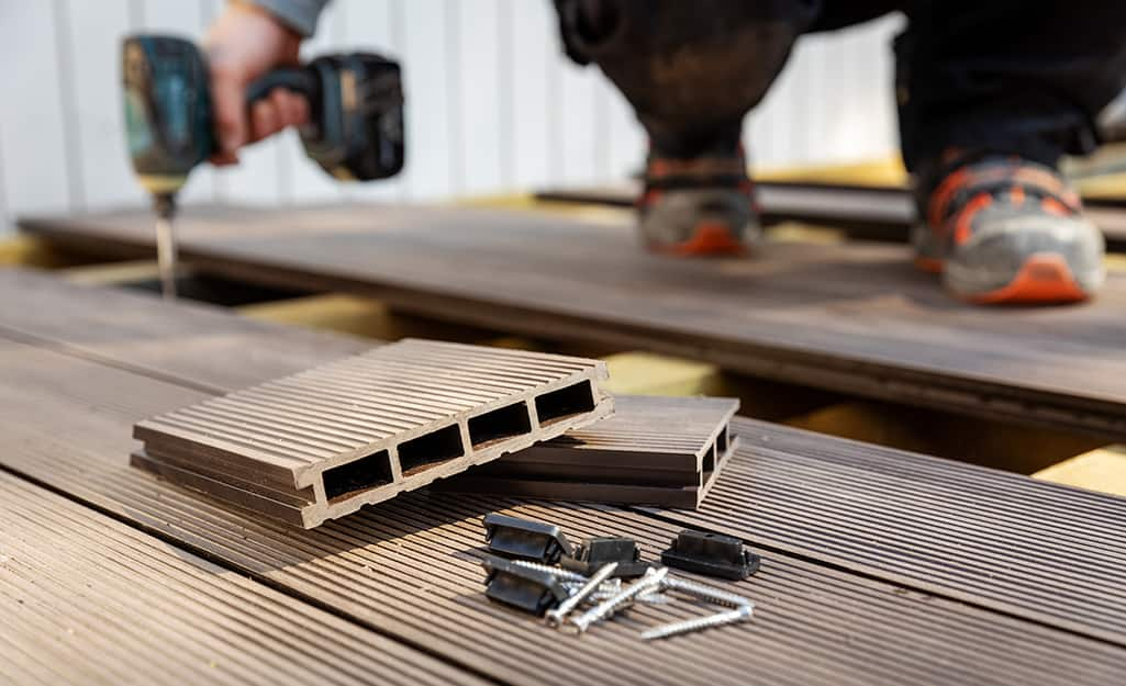 A close up of tools to build the floor of a shed.