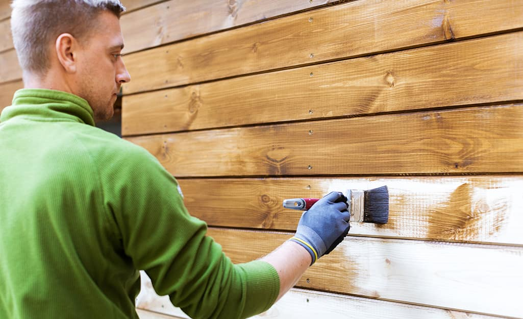 A man staining the side of a wood shed.
