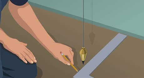 Illustration of a man using a plumb bob to measure and mark the floor.
