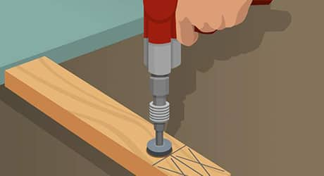 Illustration of someone drilling into wooden sole plate beams.