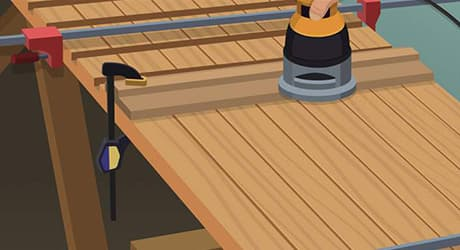 Illustration of someone cutting lumber into shelving risers.