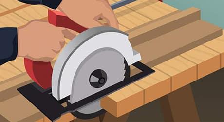 Illustration of someone trimming shelf risers using a circular saw.