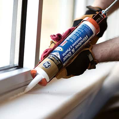 Caulk and Sealants - A caulking gun makes applying an even line easier for large ;projects.