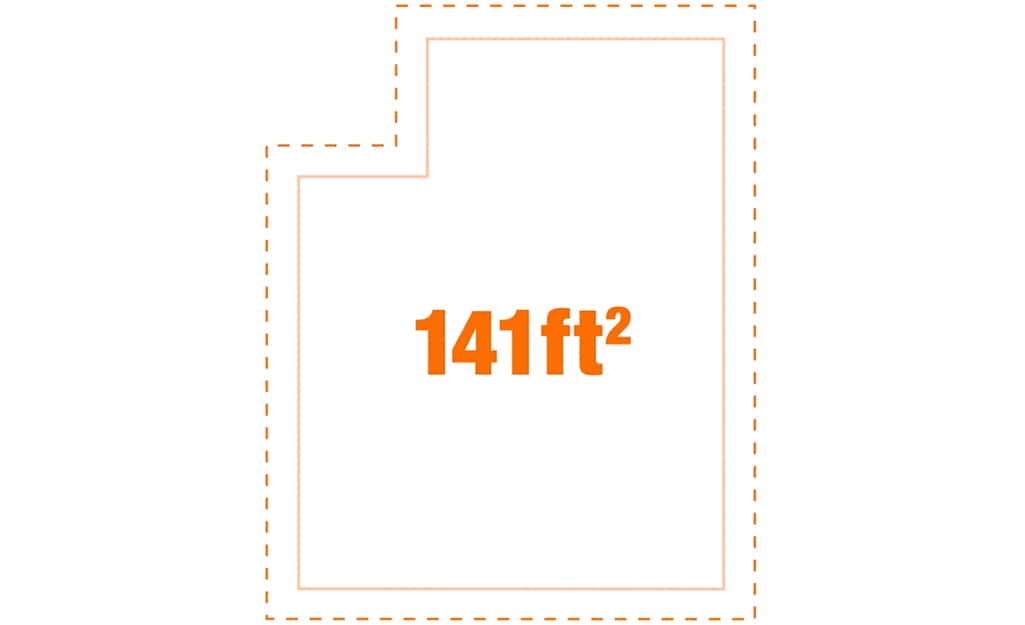 A diagram of a 141 square foot room.