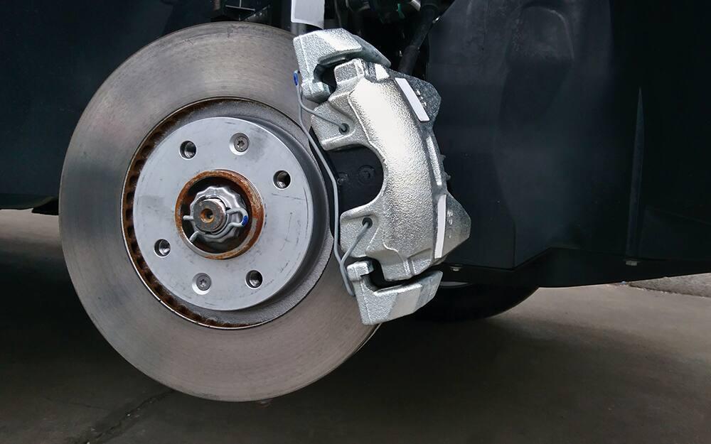 A caliper on a brake