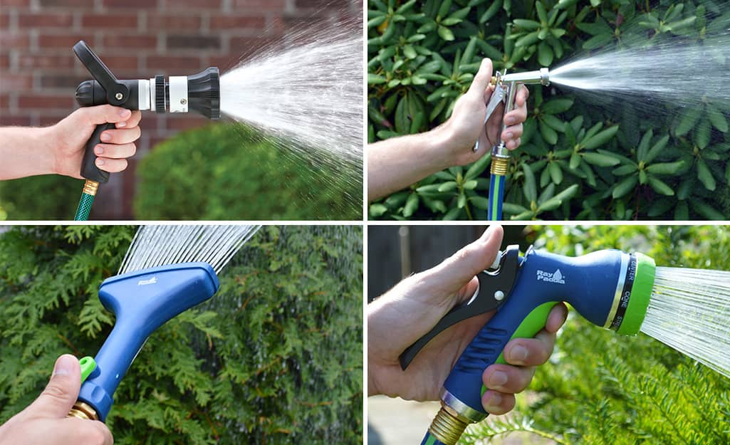 Four hose nozzles: top left and bottom right are pattern nozzles, top right is a pistol grip nozzle, bottom left is a fan nozzle.