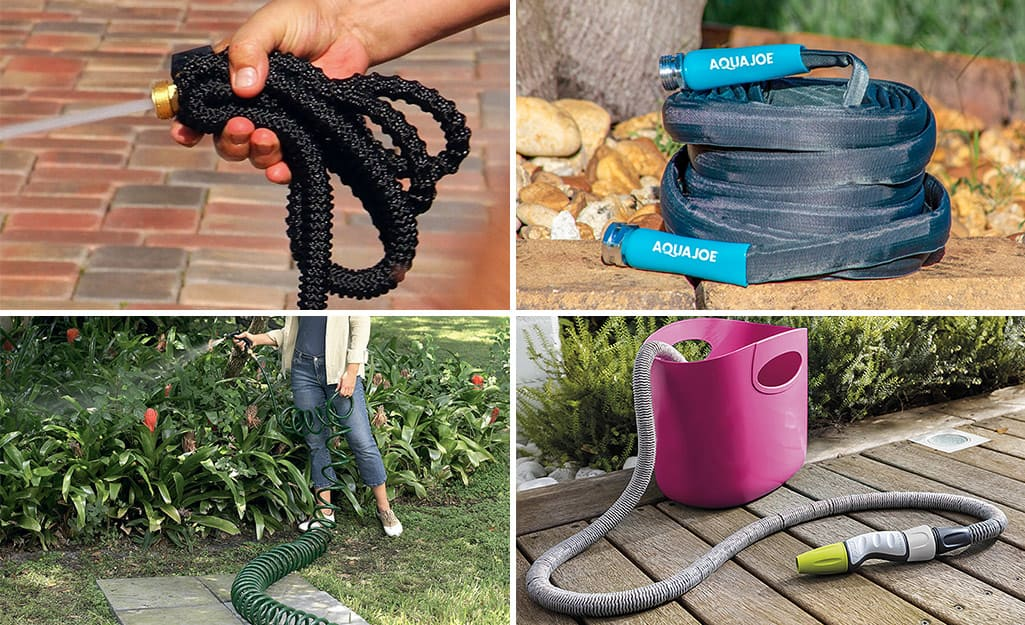 Four types of garden hoses: Top left is an expandable hose, top right is a flat hose, bottom left is a coiled hose, bottom right is an extendable hose.