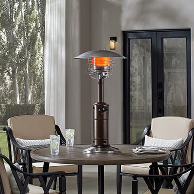 Patio heater on tabletop
