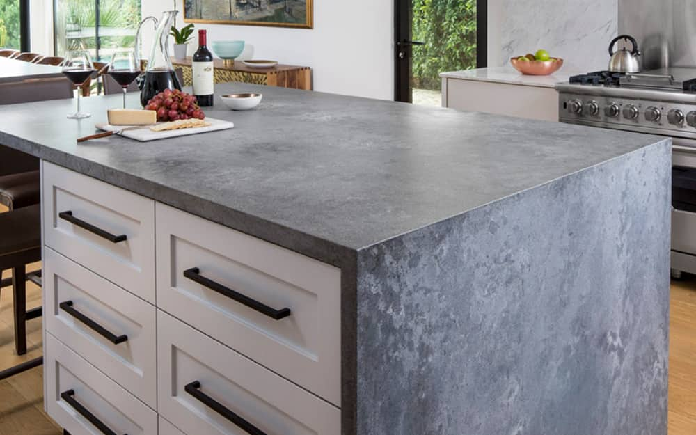 A kitchen featuring newly installed quartz countertops.