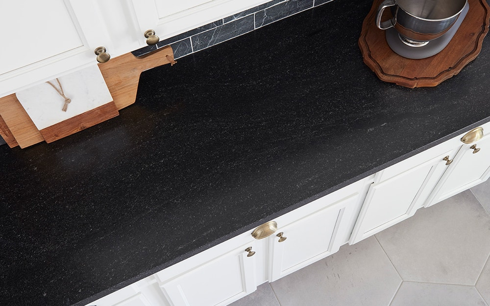 A close up of newly installed granite countertops.