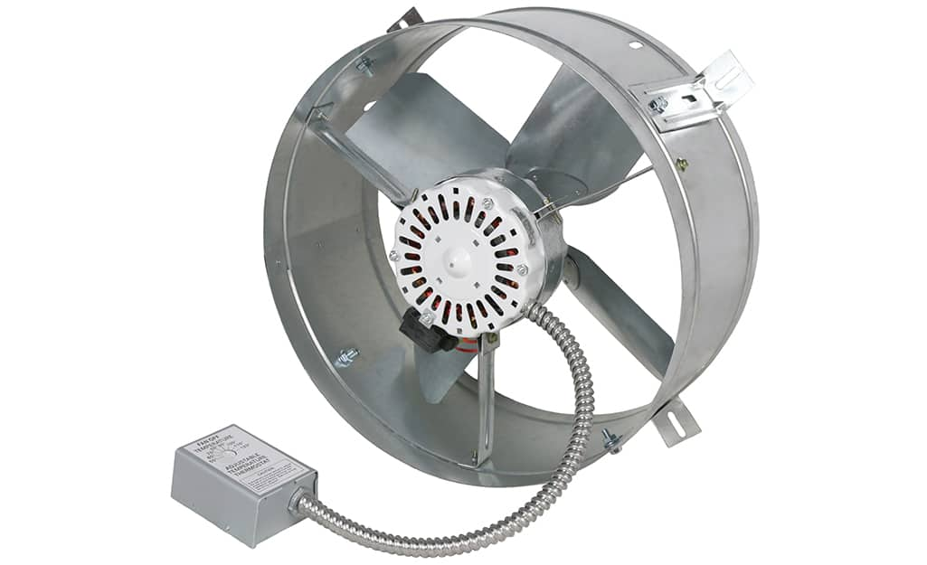 An attic fan on a white background.