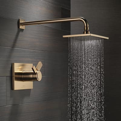 A stream of water flowing from a shower head