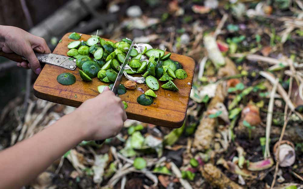 person sliding chopped vegetables off a cutting board into a compost pile