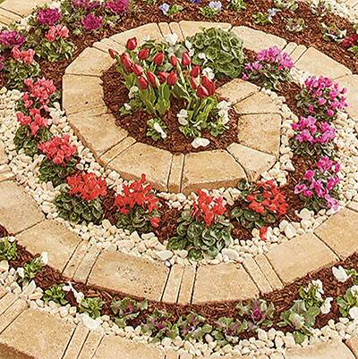 A completed spiral garden.