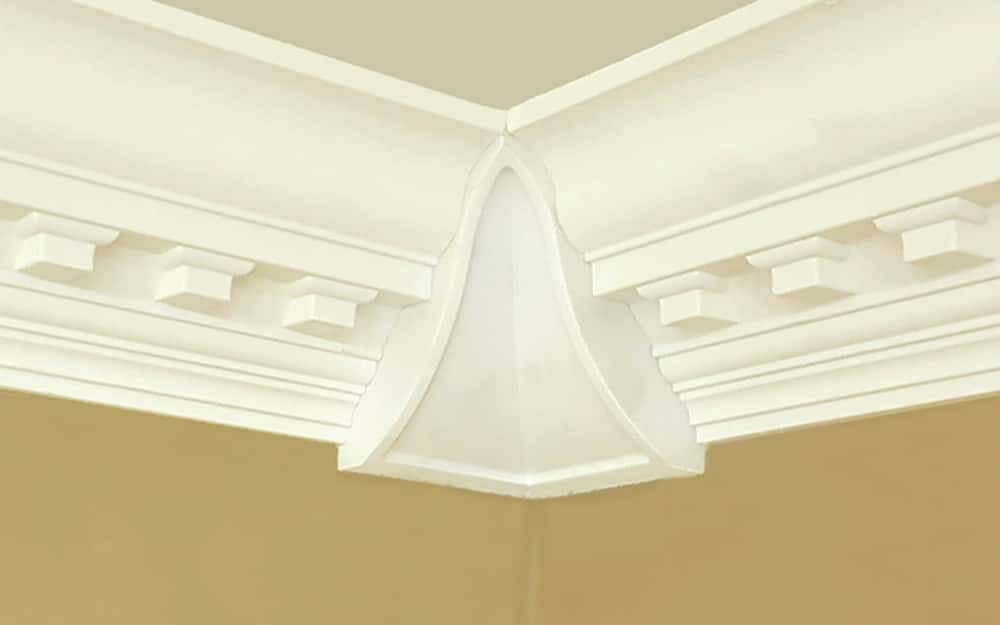 Ornate crown moulding meets against a decorative corner block.