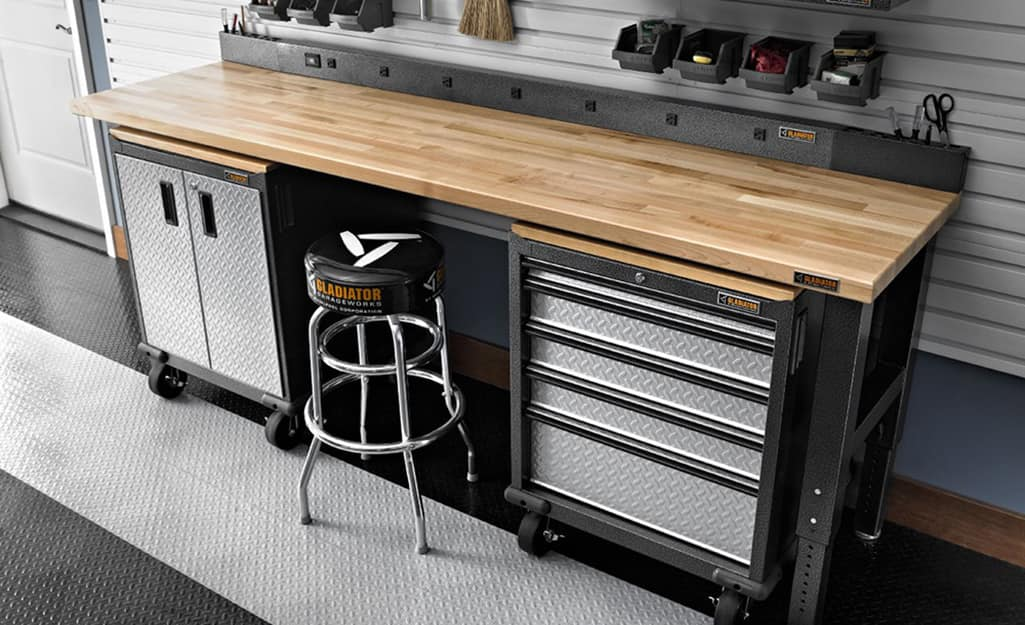 A workbench with a wood top.