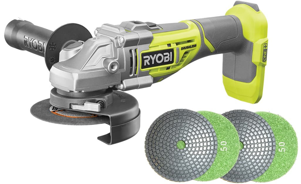 An angle grinder and diamond-grit polishing pads against a white background.