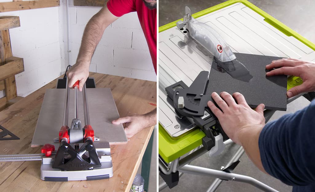 A manual tile cutter on the left and a wet saw on the right are both used to cut tile.