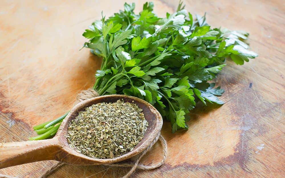 Fresh and dried herbs.