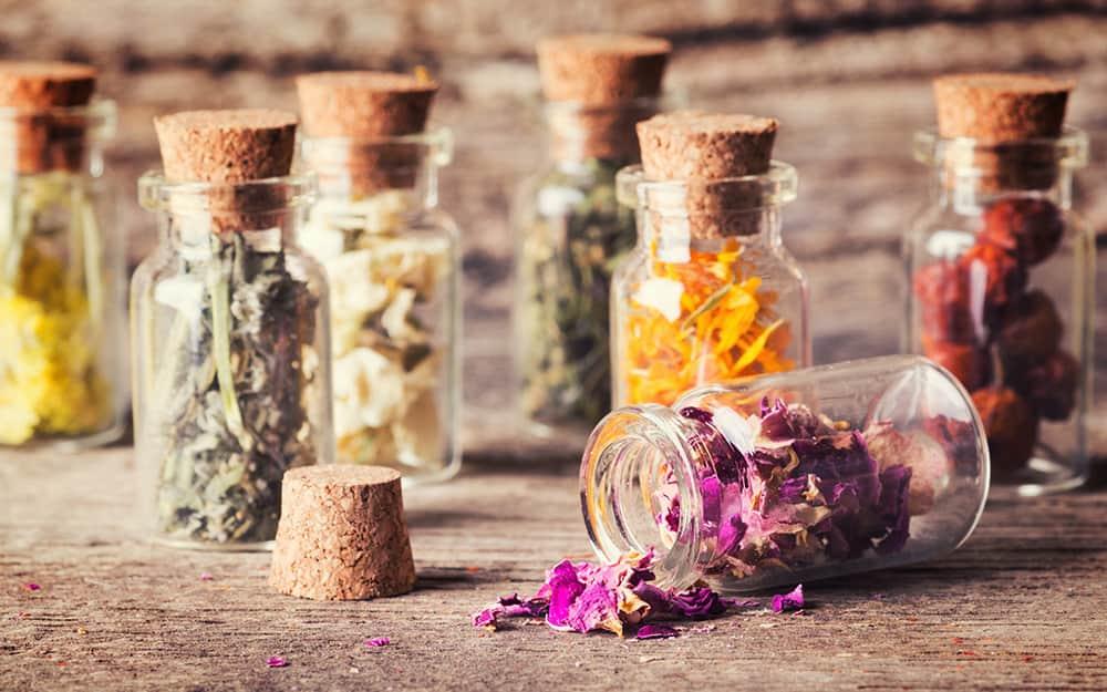 Bottles of dried herbs.