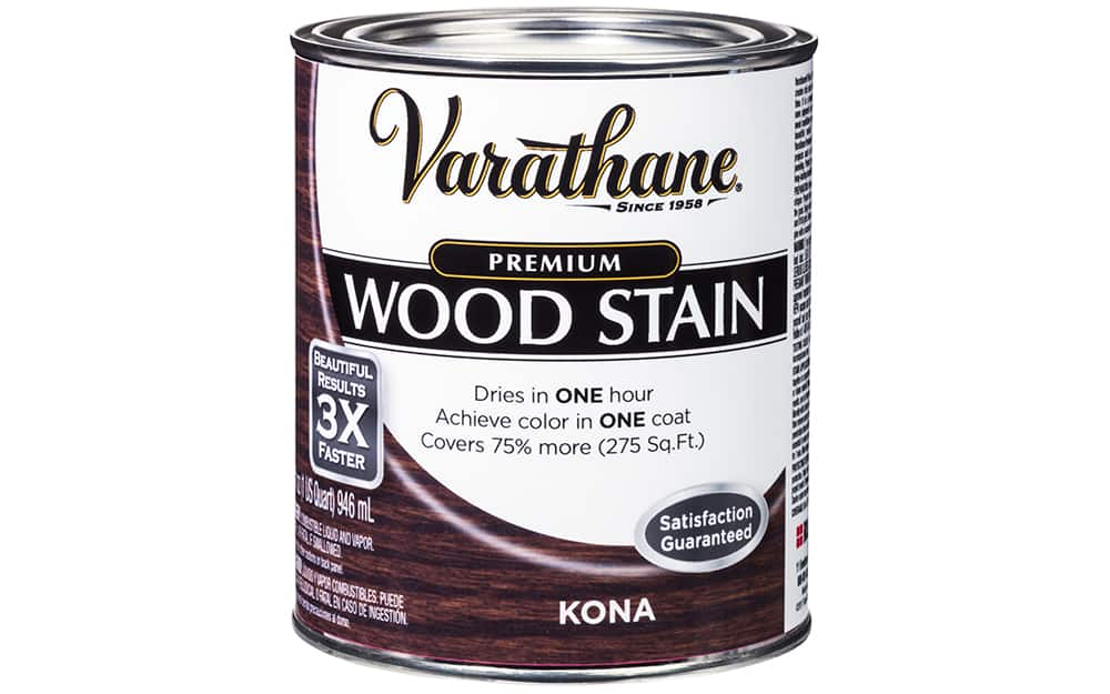 A can of wood stain on a white background.
