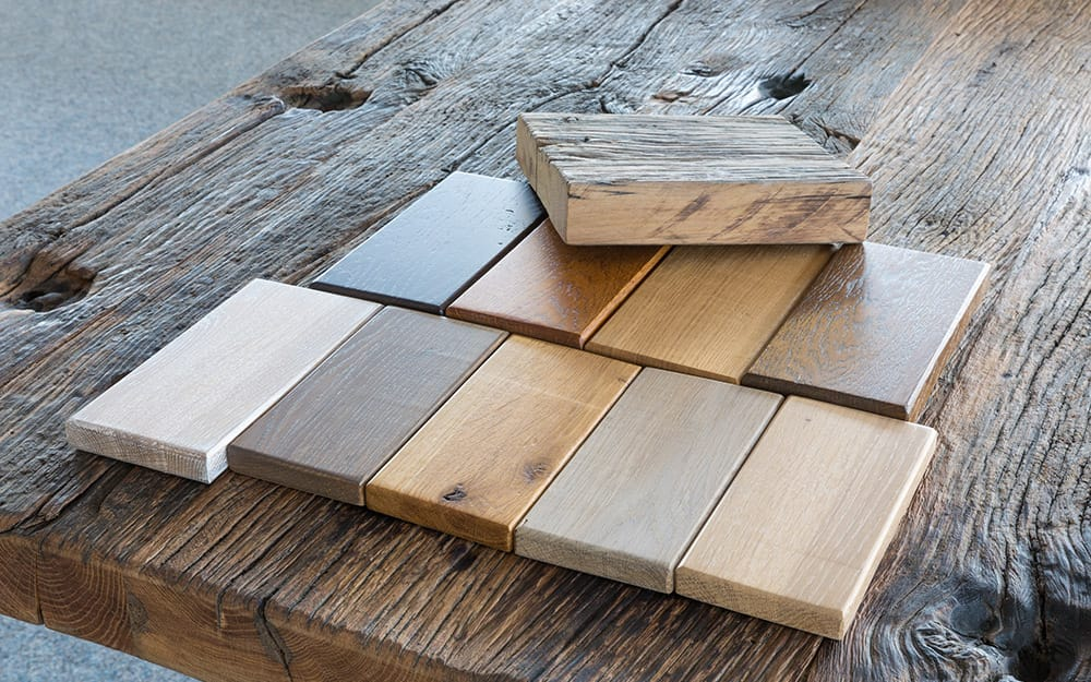 Samples of wood with different finishes.
