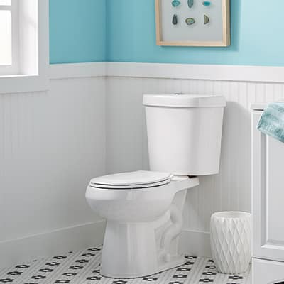 This is a toilet after the repair is complete and it is no longer leaking from the bottom.